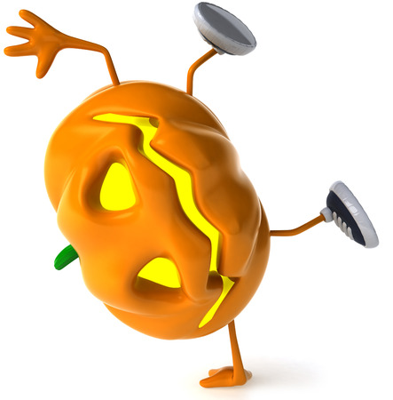 Cartoon pumpkin character doing handstand Stock Photo