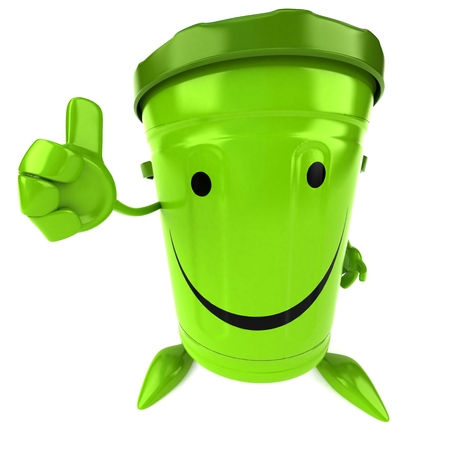 waste 3d: Green trash Stock Photo