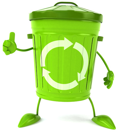3D recycle bin character showing thumbs up gesture