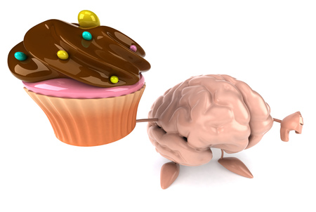 3D brain character holding a cupcake with thumbs down gesture