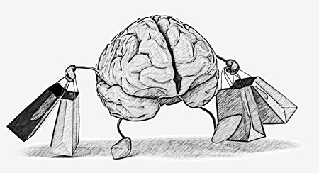 Brain character with shopping bags Stock Photo