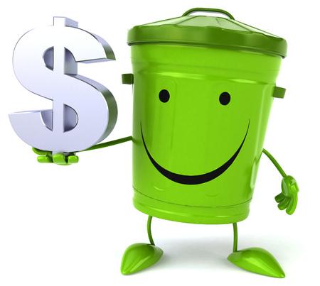 bucket of money: Green trash Stock Photo