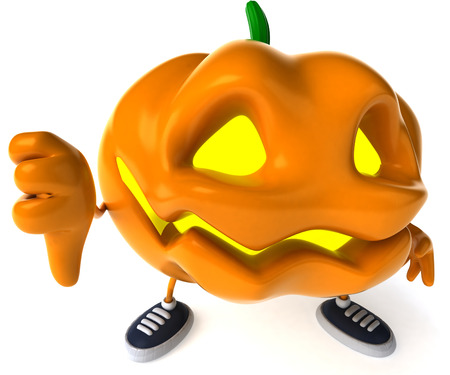 Cartoon pumpkin character with sneakers showing thumbs down pose