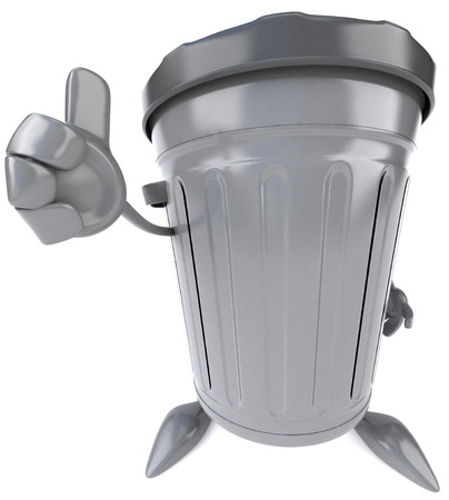 3D dustbin character showing thumbs up gesture