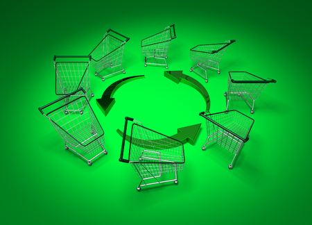 Recycle symbol surrounded by shopping carts