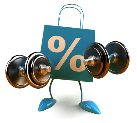 3D shopping bag character with dumbbells Stock fotó