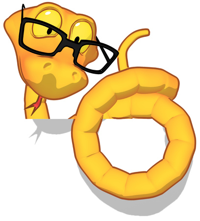 Cartoon snake with glasses Stock Photo