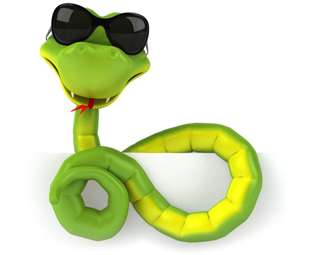 Cartoon snake with sunglasses