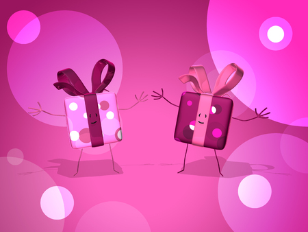 digitally generated image: Gift box characters