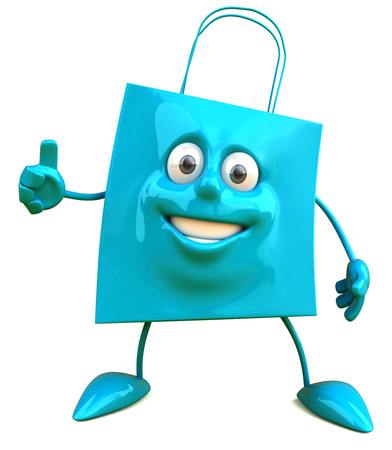 digitally generated image: Shopping bag character gesturing thumbs up Stock Photo
