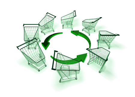 Shopping carts with recycle symbol Imagens