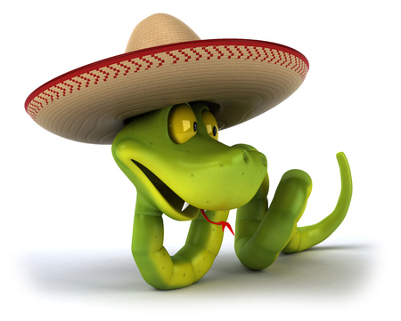 Snake character wearing a sombrero