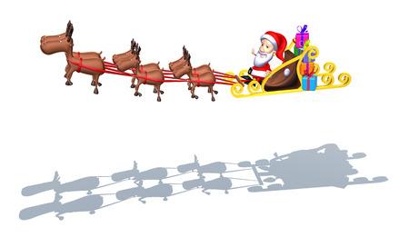 digitally generated image: Reindeers pulling santas sleigh