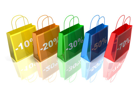 digitally generated image: Shopping bags with discounts