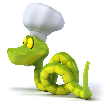 Snake character with chef hat