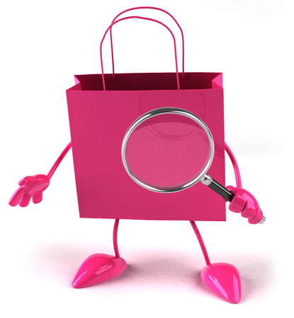 digitally generated image: Shopping bag character with magnifying glass Stock Photo