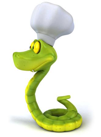Cobra de desenhos animados com chapéu de chef Foto de archivo