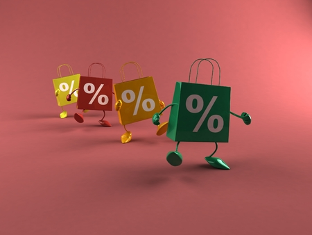Cartoon shopping bag characters with percentage are walking Stock Photo