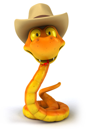 Snake character wearing cowboy hat