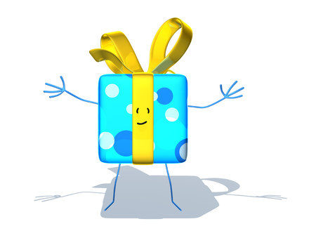 digitally generated image: Cute present character Stock Photo
