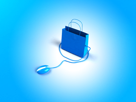 Optical mouse plugged to a shopping bag