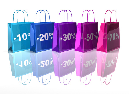 digitally generated image: Cartoon shopping bag with percentage discounts