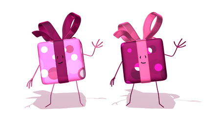 Cartoon cute gift boxes waving