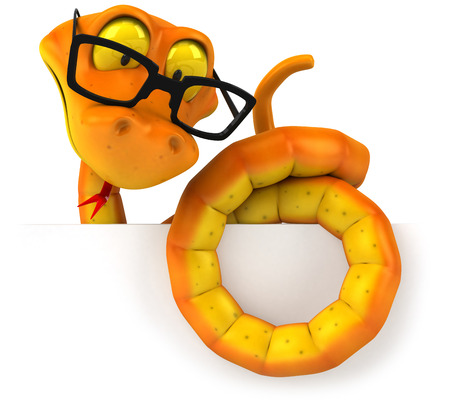 Cartoon snake with glasses on