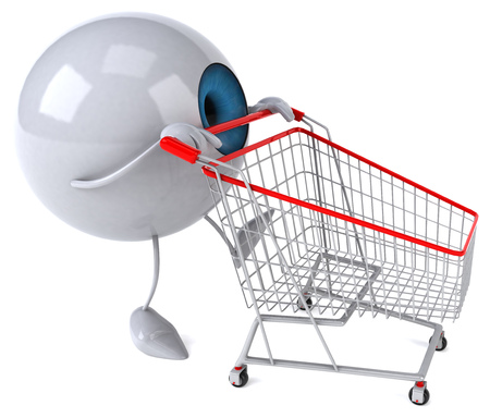 Cartoon eyeball character pushing shopping cart Stock Photo
