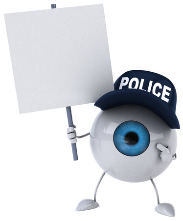digitally generated image: Cartoon eyeball character with police cap and signboard Stock Photo