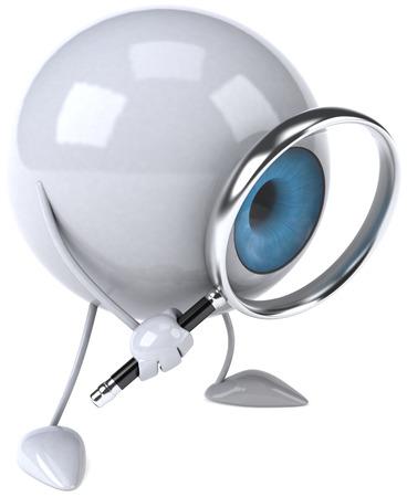 Eyeball character holding magnifying glass