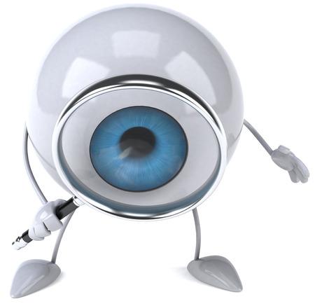 retina: Eyeball character holding magnifying glass