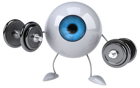 Eyeball character lifting dumbbells Stock Photo