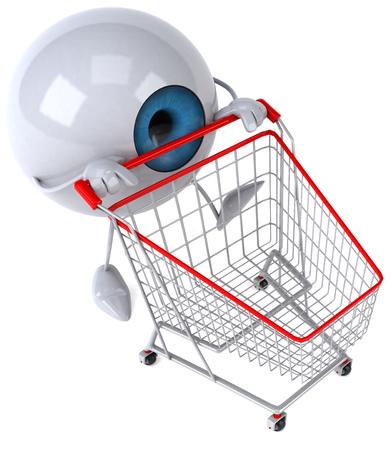 Eyeball character pushing a shopping cart Stock Photo