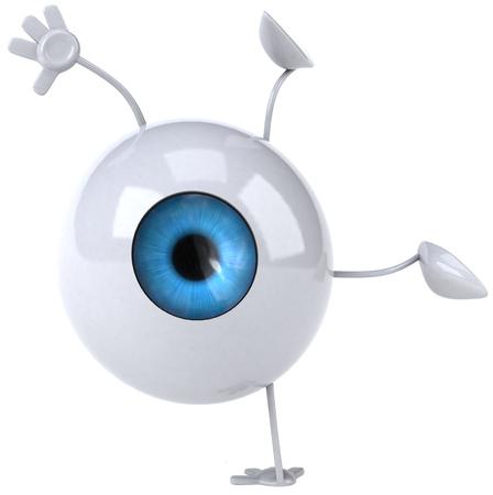 Eyeball character doing a handstand