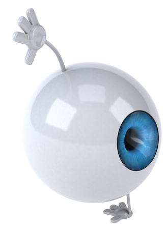 digitally generated image: Eyeball character doing a handstand