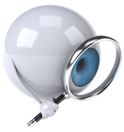Eyeball character holding magnifying glass