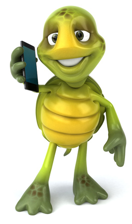digitally generated image: Tortoise character using a phone