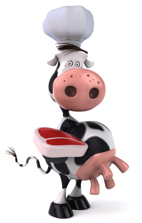 Cow character with chef hat holding a raw steak