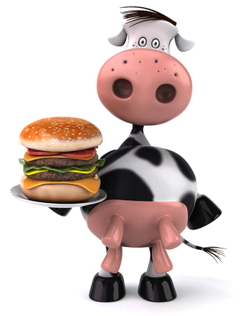 udders: Cow character holding a burger plate