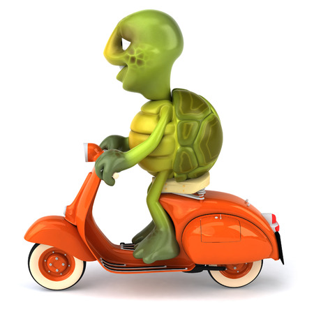 digitally generated image: Tortoise character on scooter