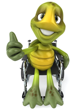 digitally generated image: Tortoise character on wheelchair showing thumbs up