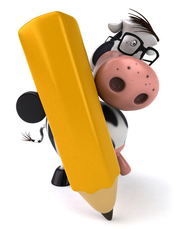 digitally generated image: Cow character with spectacles holding a pencil