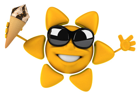 sun cream: Sun character with shades holding a chocolate vanilla ice cream Stock Photo