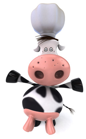 digitally generated image: Cow character with chef hat