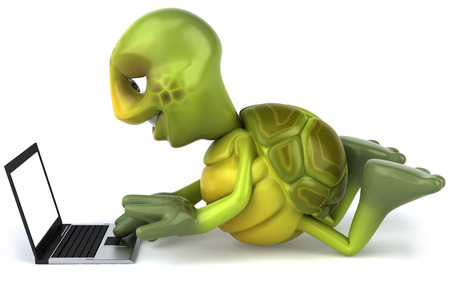 digitally generated image: Tortoise character using a laptop