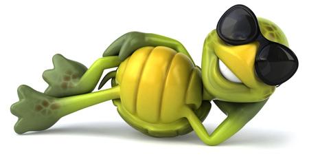 누워있는 그늘을 지닌 거북이 캐릭터