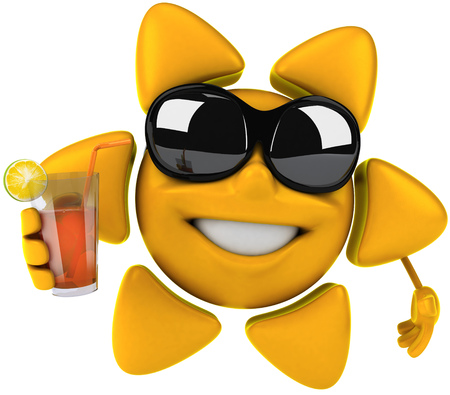 Sun character with shades holding a drink Stock Photo