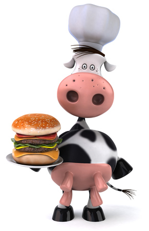 Cow character with chef hat holding a burger plate Stock Photo