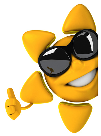 digitally generated image: Sun character with shades showing thumbs up